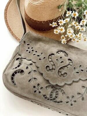Vintage CHANEL CC Embroidered Monogram Logo Khaki Suede Leather Large Shoulder Bag Crossbody Tote