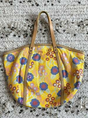 Vintage 90's XXL CHANEL CC Logos Monogram Yellow Floral Canvas Leather and Raffia Tote Purse Beach Shoulder Bag