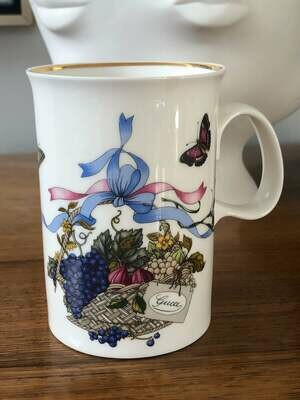 Vintage GUCCI Monogram Flora Flower Floral Tea Cup Coffee Mug Cup Fine Bone China England - Signed