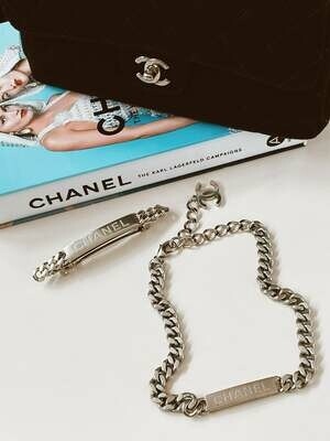 Vintage CHANEL ID Logo Letters Silver XL Large Thick Chain Hair Barrette Clip Accessory