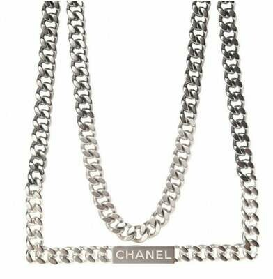 Vintage CHANEL ID Logo Letters Silver Large Thick Chain Necklace Jewelry