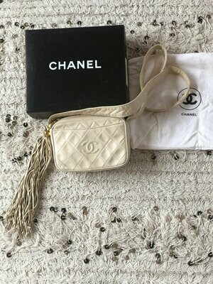 Vintage CHANEL CC Logo Matelasse Quilted Off White Leather CROSSBODY Camera Bag Clutch Purse Bag with X-Long fringe tassel