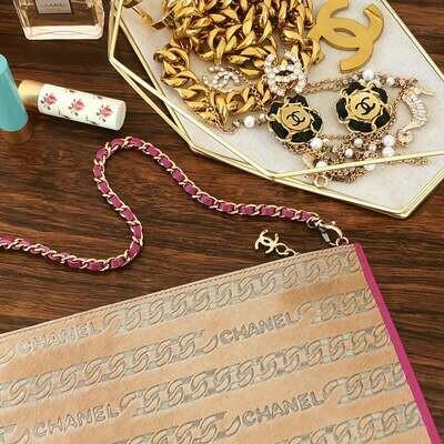 Vintage CHANEL Letters CHAIN Print Pony Calf Hair CC Logo Pink Leather Chain Classic Shoulder Clutch Purse Evening Bag Handbag