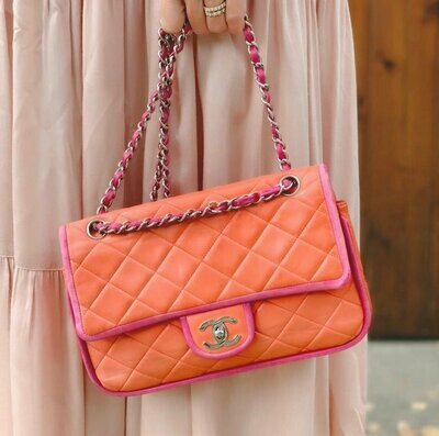 CHANEL CC Logo Turnlock Matelasse Quilted Multi Color Pink and Orange Leather Chain Classic Flap Shoulder Clutch Purse Evening Bag Handbag