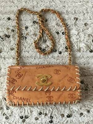 Vintage 90's CHANEL CC Logos Turnlock Brown Leather Whip Stitched Single Flap Shoulder Bag Purse Chain Strap - COLLECTORS Item!