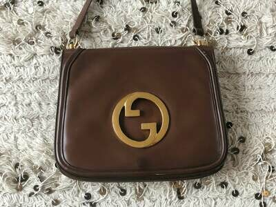 Vintage GUCCI Dk. Brown Leather BLONDIE Brit 1973 Purse Shoulder Bag Huge Gold GG's - Rare!