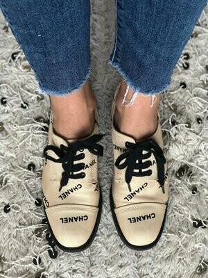 Vintage CHANEL Letters Logo Cap Toe Black Off White Sneakers Oxford Lace Ups Boots eu 38.5 us 7.5 - 8