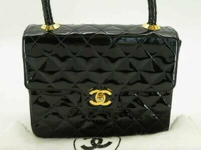 Vintage CHANEL CC Logo Turnlock Black Quilted Metalasse Patent Leather Top Handle KELLY Bag Purse Satchel