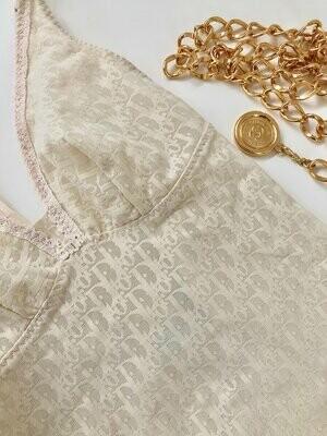 Vintage Christian DIOR Paris MONOGRAM Logo Nude Lace Teddy Shapewear Bralette Lingerie Panties S M
