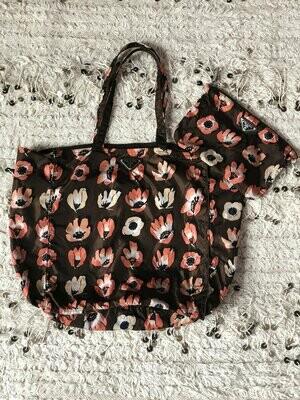 Vintage 90s PRADA Milano 2 Piece SET Floral Monogram Logo Plate Nylon Fabric Bag Tote Shoulder Clutch Shopper Hobo Purse Carry All