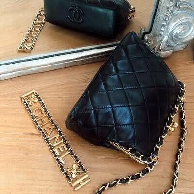Vintage 90's CHANEL CC Monogram Logo Quilted Black Leather Gold CHAIN Metal Frame Clutch Shoulder Purse Mini Bag Evening - Mint!