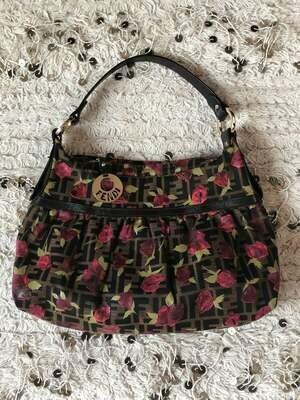 Vintage 90's FENDI FF Monogram Zucca Print Logos Floral Flower Leather Fabric Chef Tote Shoulder Hand Bag Top Handle Purse w Charm