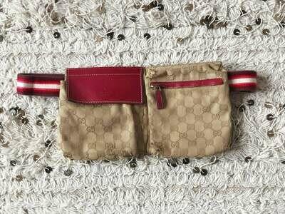Vintage GUCCI GG Monogram Supreme Red White WEBBING Belt Bum Fanny Pack Waist Bag