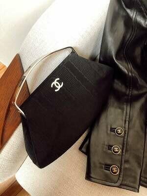 Vintage 90's CHANEL CC Monogram Logo Black Satin Silver Metal Frame Clutch Shoulder Purse Mini Bag Evening - Mint!