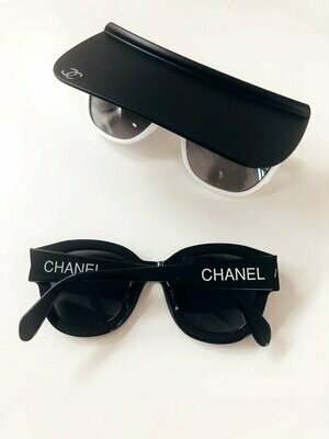 VINTAGE CHANEL CC VISOR SUNGLASSES BLACK WHITE WITH CASE