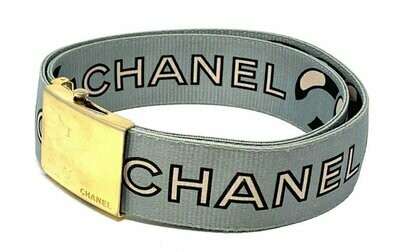 Vintage 90's CHANEL Monogram Letter Logos Iconic Webbing Chain Print Large Black White Blue Gold Buckle Waist Belt S M L