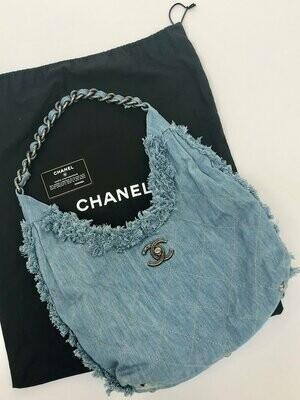 CHANEL Large CC Logo Trunlock Denim Blue Jean & Chain Tote Purse Beach Shoulder Bag