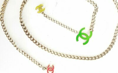 Vintage 90's CHANEL CC Logo Neon Pink Yellow Green & Rose Gold Charm Pendant Belt Long Necklace Jewelry Belt