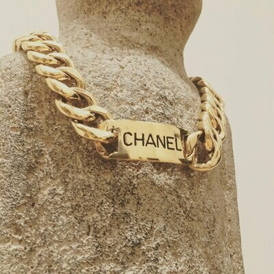 Vintage CHANEL ID Logo Plate Gold Large Thick Chain Necklace Choker Jewelry