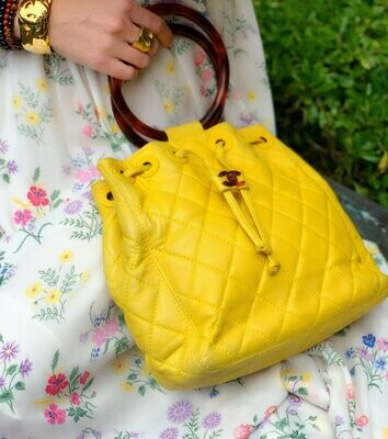 Vintage CHANEL Tortoise Handle CC Turnlock Logo Drawstring Yellow Lambskin Matelasse Quilted Leather Tote Shoulder Bag Purse Evening Clutch