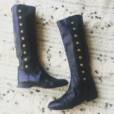 Vintage CHANEL CC Button OTK Black Leather Button Up Riding Moto Knee High Boots Heels eu 38 us 7 - 7.5