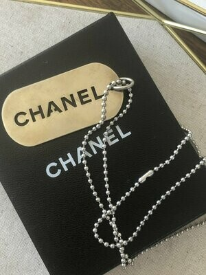 Vintage CHANEL HUGE Silver Plated Jumbo Charm Pendant Necklace Jewelry Dog Tag