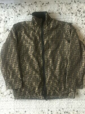 Vintage FENDI FF Zucca Print REVERSIBLE Monogram Womens Black Brown Blazer Jacket Dress Coat Trench Rain  S M - Wow!!