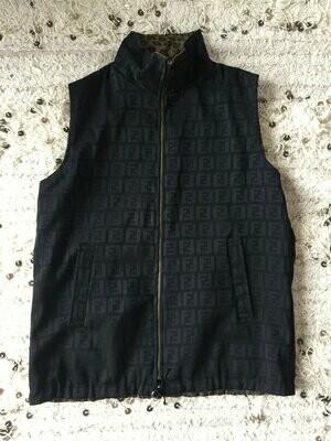Vintage FENDI FF Zucca Print REVERSIBLE Monogram Leopard Unisex Brown Black Vest Jacket Dress Coat Trench  S M L
