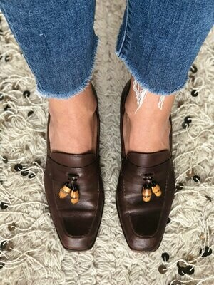 Vintage 70's GUCCI SUPREME Bamboo Charm Dk. Brown Leather Loafers Slip On Heels Shoes eu 37.5 us 7 - 7.5