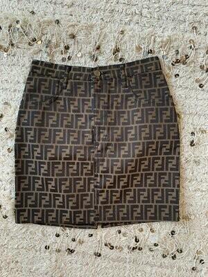 Vintage 90's FENDI ZUCCA FF Monogram Skirt Dress It 40 / Us  27 - 28