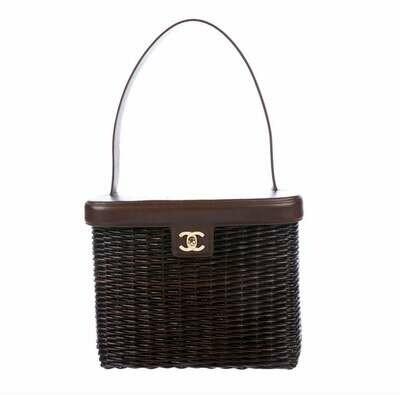 Vintage CHANEL Large CC Logo Gold Turnlock Brown Straw Rattan Raffia Wicker & Leather Shoulder Bag Tote Purse Handbag - EXCELLENT Condition