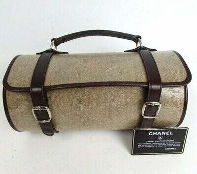 Vintage CHANEL Logo Linen & Leather Barrel Top Handle Buckle Bag Purse Clutch - RARE Design!!