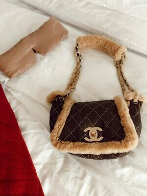 Vintage 90's CHANEL Large CC Turnlock Classic Flap SHEARLING Fur Lambs Wool Leather Chain Shoulder Bag Purse