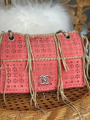 Vintage 90's CHANEL Maxi CC Floral Cut out Perforated Logos Turnlock Pink Brown Leather Fringe Chain Shoulder Bag Purse