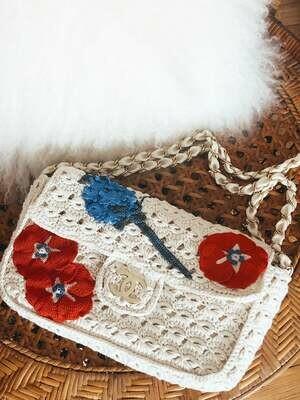Vintage 90's CHANEL CC Logo White Beige Classic Flap Crochet Floral Woven Knit Chain Shoulder Tote Handbag Purse Bag