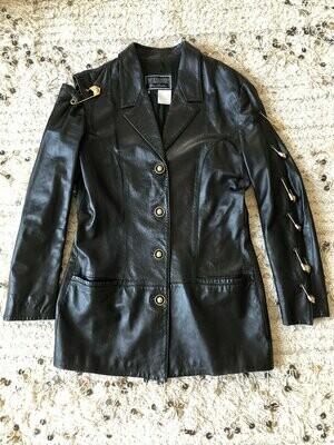 Vintage 90's GIANNI VERSACE Versus SAFETY Pin Lion Head Byzentine Logo Black Leather Jacket Blazer Coat - Rare!!
