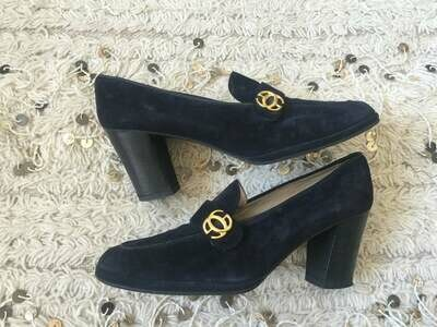 Vintage 70's GUCCI GG MONOGRAM Navy Suede Leather Loafers Slip On Smoking Heels Pumps Shoes eu 39.5 us 8.5 - 9