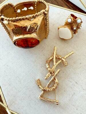 Vintage YSL Yves Saint Laurent Gold White Stone Ring Cuff - Art design