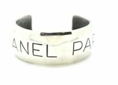 Vintage CHANEL PARIS Logos Letters Script Monogram Silver Cuff Bangle Bracelet
