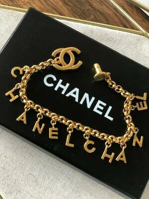 Vintage 90's CHANEL CC Turnlock Logo Monogram LETTERS Gold Plated Charm Bracelet Bangle Cuff Jewelry