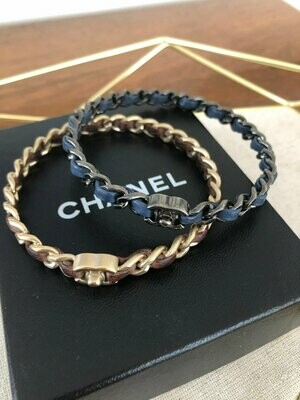 Vintage 90's CHANEL CC TURNLOCK Charm Logo Gunmetal Black Plated Chain Link Navy Blue Leather Bracelet Cuff Bangle Jewelry