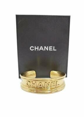 Vintage CHANEL PARIS Logos Letters Script Monogram Gold Cuff Bangle Bracelet
