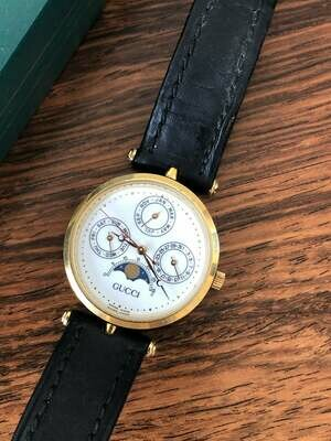 Vintage GUCCI GG Monogram 3 Face Moon Phase World Clock Time Zones Enamel Watch - Working! Super Rare!!