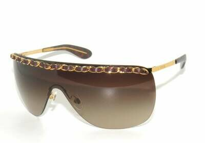 Vintage 90's CHANEL Quilted CHAIN Ombre Gradient Amber Lens Visor Shield Sunglasses Rimless