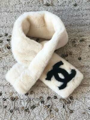 Vintage 90s CHANEL CC Monogram White Black Faux Fur Wrap Stole Scarf Muffler - As seen on Kylie Jenner! Super RARE!