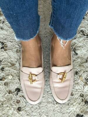 Vintage HERMES H Toggle Gold Ring Logo PINK Leather Loafers Heels Driving Shoes Smoking Slippers Ballet Flats 37 us 6.5 - 7