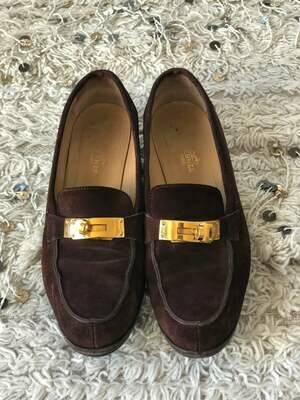 Vintage HERMES Logo Birkin Turn Lock Dk Brown Suede Leather Loafers Driving Shoes Heels Flats eu 38.5 us 8 - 8.5