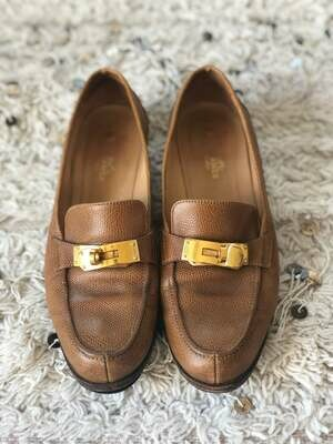 Vintage HERMES Logo Birkin Turn Lock Brown Tan Textured Leather Loafers Driving Shoes Heels Flats eu 38.5 us 8 - 8.5