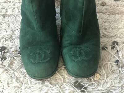 Vintage CHANEL Huge CC Logo Monogram GREEN Suede Leather Boots Booties Moto Combat Riding eu 38.5 us 7.5 - 8 - Rare!!