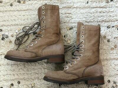 Vintage 90's CHANEL CC Logo COMBAT Biker Moto Pony Calf Hair Brown Lace Up Leather Boots 38 us 7 - 7.5 - Rare!!